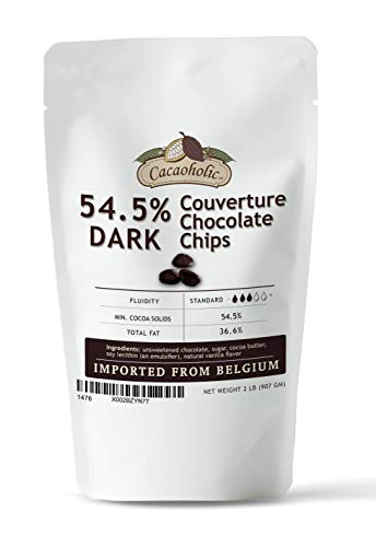 2 LB Cacaoholic - Dark Couverture Chocolate Chips | 54.5% Cocoa |...