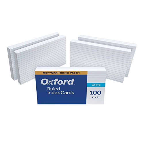 "Oxford 51EE Ruled Index Cards, 5"" x 8"", White, 500 Cards (5 Packs of 100) (51)"