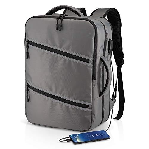 DEMI Mochila o bolso de viaje en Nylon - Compartimento acolchado para ordenador y puerto USB - Amplio bolsillo central con cremallera interna - Bolsillo delantero grande con bandas reflectantes.