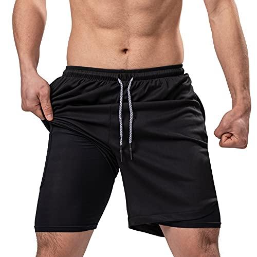 Kurze Hosen Herren 2 in 1 Jogginghose Sporthose Trainingshose Gym Shorts Männer Laufhose schnell trocknend atmungsaktiv mit Reißverschlusstasch für Laufsports Basketball