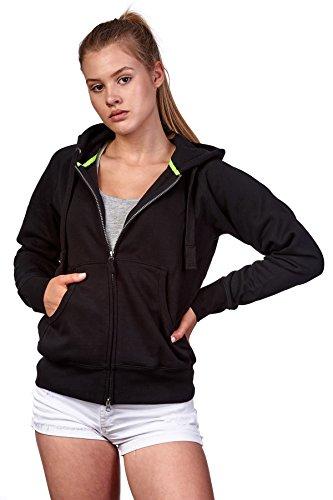 Happy Clothing Damen Sweatjacke mit Kapuze Zip Hoodie Kapuzenjacke Basic Einfarbig S M L, Größe:L, Farbe:Schwarz