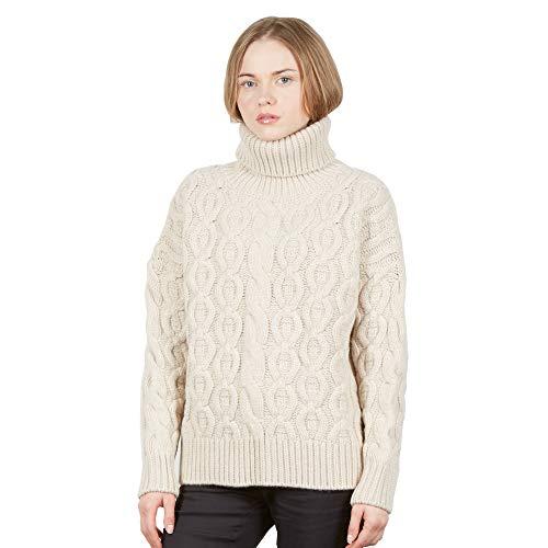 Brunella Gori Maglione Pullover Dolcevita Motivo Aztec Donna - 90% Merino 10% Cashmere Colore Crema M
