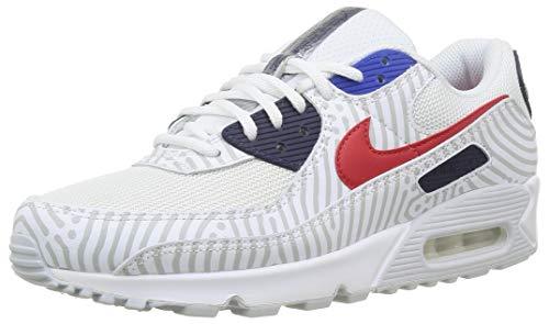 Nike Herren AIR MAX 90 Laufschuh, White University Red Midnight Navy, 44 EU