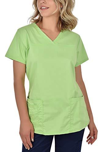B-well Andrea Berufskleidung Damen Kasack Schlupfkasack Kurzarm V-Ausschnitt für Krankenschwester, Zahnarzt, Ärzte, Dienstmädchen, Studenten, Tiermediziner Hellgrün 40