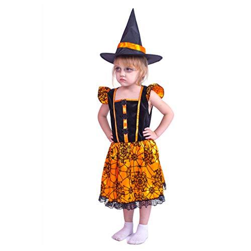Lvguang Halloween Disfraz para Niños, Disfraz de Fiesta Traje de Araña Lindo Femenino con Sombrero, Cosplay Disfraz Fiesta, Bruja, Disfraz de Actuación, Disfraz de Mascarada (S)