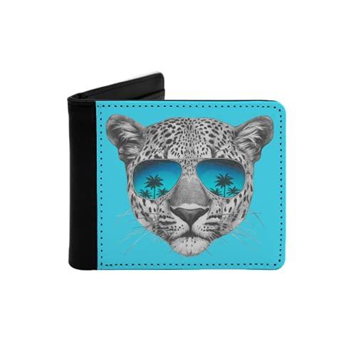 Cartera Delgada de Cuero para Hombre,Dibujo Original de Leopardo con Gafas de Sol de Espejo Aislado sobre Fondo de Color,Cartera Minimalista con Bolsillo Frontal Plegable