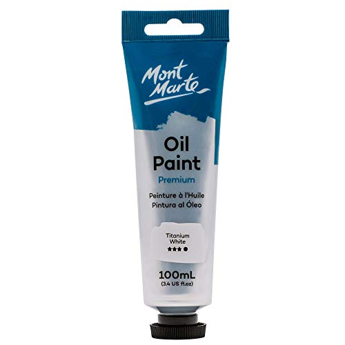 Mont Marte Premium Oil Paint, 100ml (3.4oz), Titanium White, Good Coverage, Excellent Tinting Strength