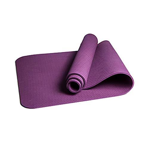 ZEZKT Color de costura yoga mat esterilla yoga antideslizante barata Hacer flexiones esterilla yoga gruesa Combínalo con pantalones y mallas de yoga(183 x 61 cm) (Púrpura)