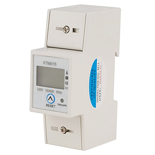 LCD digitale stroommeter eenfase wattmeter voor DIN DIN-rail, 2P wisselstroommeter 50/60Hz 220V 10(40) A met momentverbruik (terugstelbaar) / totaal verbruik weergave