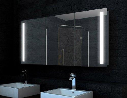 rmi-onlineshop Star Spiegelschrank Bad LED Beleuchtung 132 LED Lichtfarbe 6400K Kaltweiß 6 Einlegeböden beidseitig verspiegelte Türen 5mm Aluminium Rahmen 140x68 cm