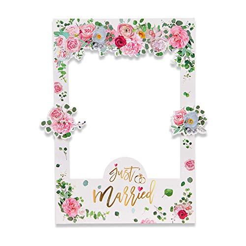 Bopfimer Cornice Floreale Selfie Frame Photo Booth Decorazione per Decorazioni, Fiore di Rose da Sposa Addio al Nubilato Addio al Nubilato Accessori per Giochi di società