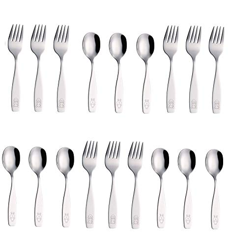 Exzact Stainless Steel 18 Pieces Childrens Flatware/Kids Silverware/Cutlery Set - 9 x Children Safe Forks, 9 x Children Tablespoons - Safe Toddler Utensils (Engraved Dog Bunny)