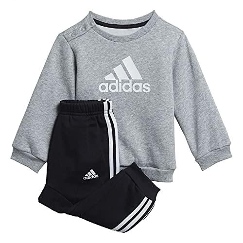 adidas I BOS Logo Jog Set, Top:Medium Grey Heather Bottom:Black/White, 6-9M Unisex-Baby