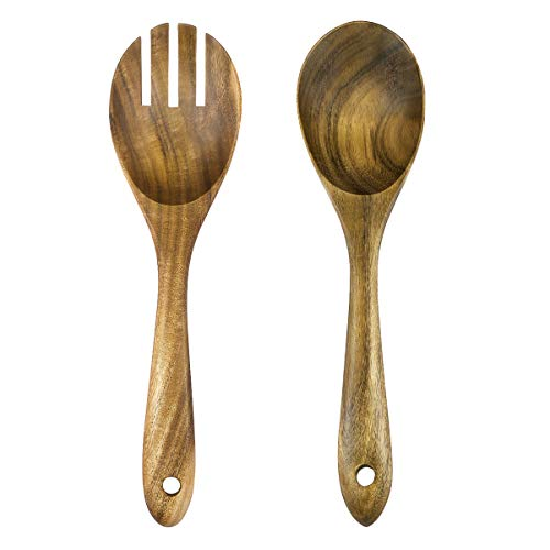 TOPBATHY Wooden Spoon Salad Dinner Serving Spoons Server Wood Fork Spoon Cutlery Set Wooden Utensils Tableware