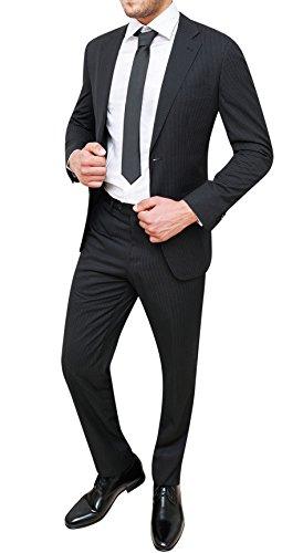 Vestito Completo Uomo gessato Nero Abito Sartoriale Giacca con Pantaloni (48)