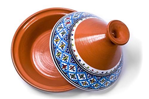 Kamsah Hand Made and Hand Painted Tagine Pot | Moroccan Ceramic Pots For Cooking and Stew Casserole Slow Cooker (Medium, Turquoise)