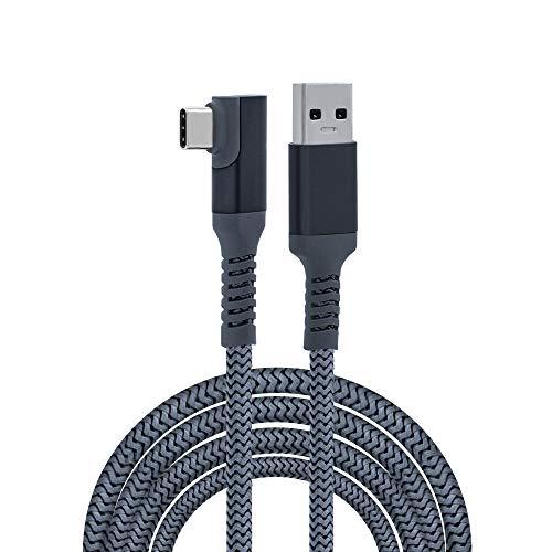 Mcbazel Oculus Link Cable 6m Trenzado Type-C a USB 3.0 Transferencia de carga rápida Cable de ángulo recto para Dispositivos de Puerto Oculus Quest/Quest 2 / Type-C