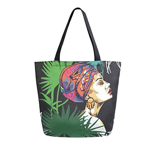 Tropische Pflanzen Afrikanische Mädchen Canvas Tote Bag Große Schultertasche für Frauen und Mädchen Einkaufstaschen Wiederverwendbare Canvas Handtaschen