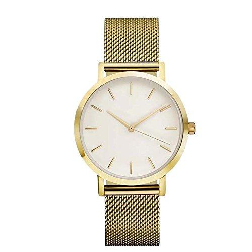 Damen Uhren, Frauen Armbanduhren LeeY Elegante Ultra Dünne Unisex Analoge Quarz Armbanduhr,Edelstahl Kleid Quarzuhr,Einfache Casual Armbanduhr für Frauen Männer mit Mesh-Zone (Golden)