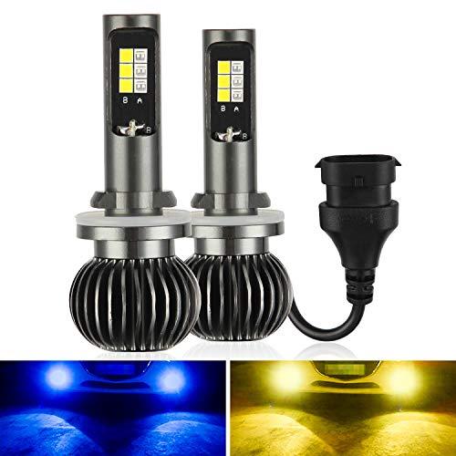 Kairiyard LED 880 881 H27 Faros Antiniebla 3000K+8000K Bombillas LED Faros Delanteros 110W 7200 Lúmenes Chip DSP Extremadamente Brillante 2 lámparas Rotación de 360° Conversión de Bi-xenón