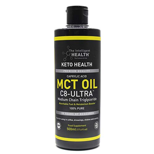 MCT Oil C8-Ultra 500ml - from Coconut Oil with Caprylic Acid | Helpful for Keto Diet, Ketones Supplement & More | Paleo, Vegan Friendly & Gluten Free | Coconut Aminos