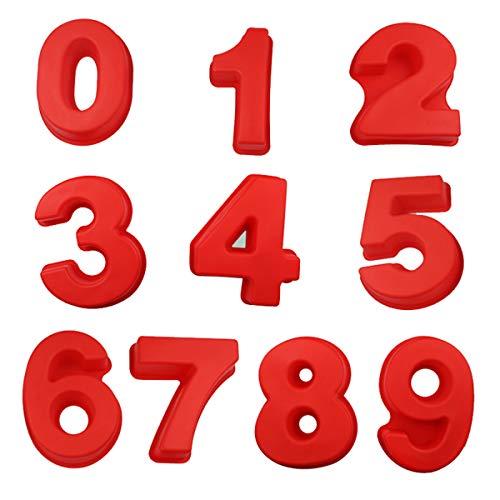 OrangeClub Silikon Anzahl Kuchenform Backen Geburtstag Hochzeit Jubiläum für 0 - 9 Zahlen, Große Zahl Vollständiger Satz