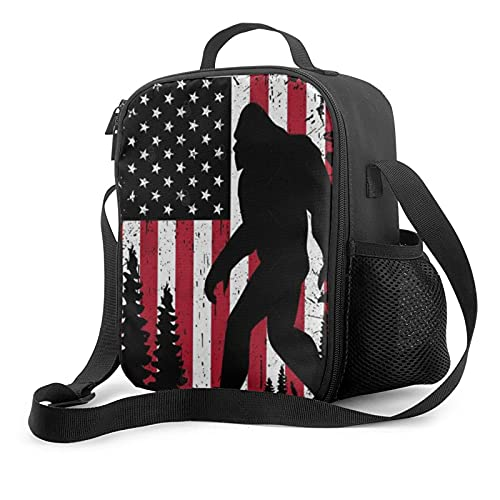 Vintage Bigfoot Sasquatch Monsters American Flag Lunch Bag Insulated Lunch Box Waterproof Reusable Tote For Adults And Kids With Work Picnic Travel