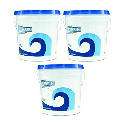 Boardwalk HURACAN40 Low Suds Industrial Powder Laundry Detergent, Fresh Lemon Scent, 40lb Pail (3-Pack)