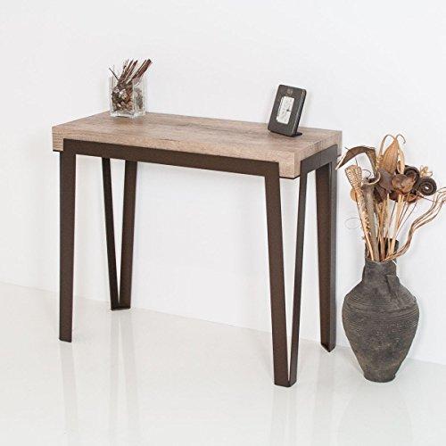 Group Design Rio Table console extensible, en noyer naturel, avec structure de couleur rouille - Fabriquée en Italie - 14 Personnes - 3 mètres