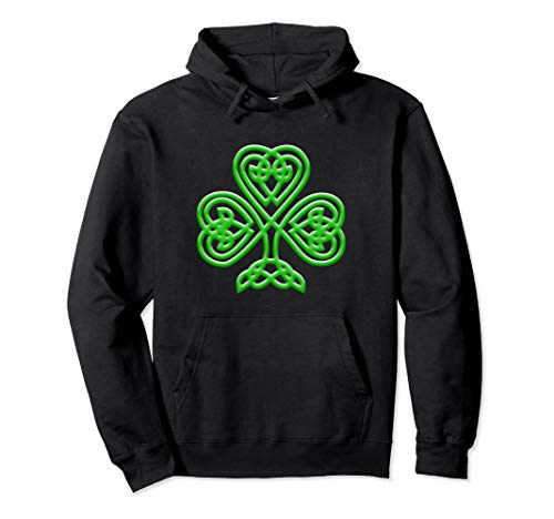 Celtic Knot Style Green Shamrock St. Patrick's Day gift Pullover Hoodie