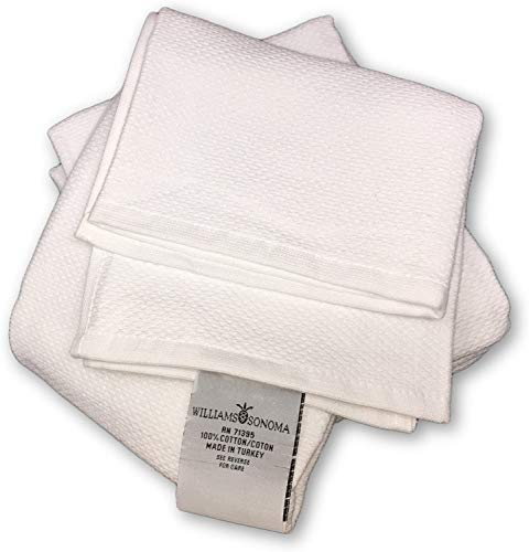 Williams-Sonoma All Purpose Pantry Towels, Kitchen Towels, Set of 4, White, 100% Cotton