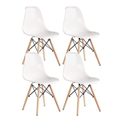 Nicemoods Juego de 4 Silla de salón sillas de Comedor de Estilo Moderno Silla de plástico de Mediados de Siglo Comedor Dormitorio con sillas escandinavas Dormitorio de cafetería (Blanco)