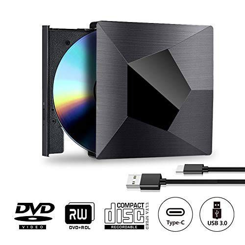 Grabadora Reproductor CD DVD Externa Portátil USB 3.0 y Tipo C 2 en 1 Quemador Lector de RW / ROM Para Windows 10 7/8 / Vista / XP / Mac OS Linux, Laptop, PC