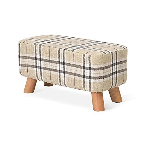 Reposapiés, otomano redondo, taburete bajo de madera, taburete con reposapiés para sala de estar, extraíble y lavable, antideslizante, suave y cómodo/D / 57x29x29cm