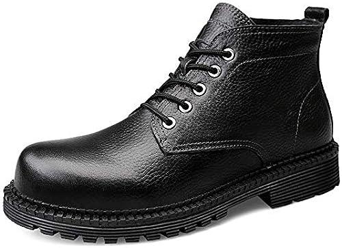 YJiaJu Mode Ankle Work Stiefel, Casual Einfache Winter Faux Faux Faux Fleece Inside High Top Stiefel (konventionell optional) für Männer Frauen (Farbe   Schwarz Größe   46 EU)  willkommen zu wählen