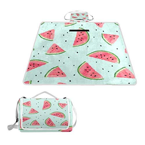 XINGAKA Picknickdecke,Saftige Aquarell Melone Wassermelone Muster Sommer Food Drink Blue Fruit Slice Berry Dessert,Outdoor Stranddecke wasserdichte sanddichte tolle Picknick Matte