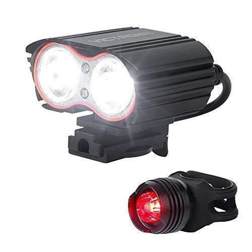 JKLL LED Fahrradlicht Set, StVZO Zugelassen USB Wiederaufladbare Fahrradbeleuchtung fahrradlichter Set, CREE LED/Li-ion Batterie Laufzeit 4 Stunden, IP65 Wasserdicht