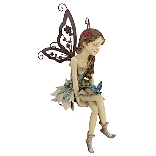Design Toscano HF326063 Fannie the Garden Fairy Sitting Statue, 12 Inch, Polyresin, Full Color,Single,12