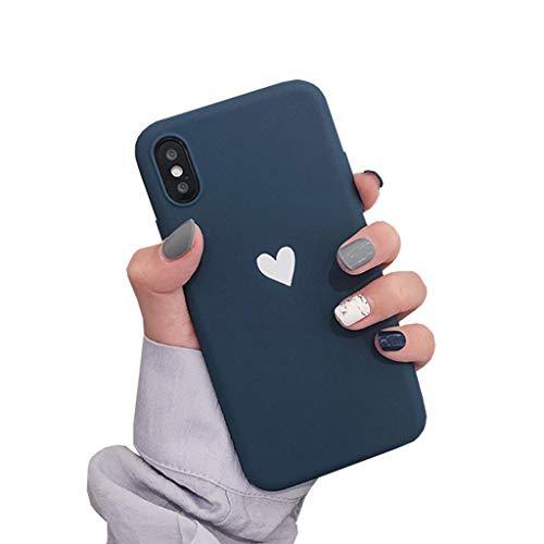 Bakicey iPhone XS Hülle, iPhone X Handyhülle Weich Silikon Mode Chic Schutzhülle Bumper Cover Kratzfeste Stoßfest Ultra dünn Hülle case für Apple iPhone XS, Love Blau