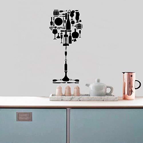 HYLCH Wandaufkleber Französisch Weinglas Design Vinyl Quote Restaurant Küche Entfernbare Wandaufkleber Diy Wohnkultur Wasserdichte Tapete