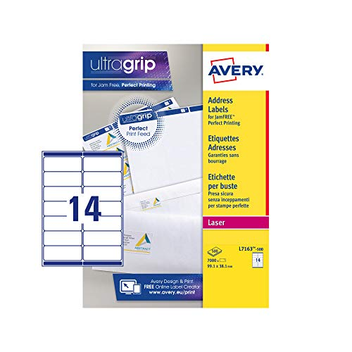 Avery Zelfklevende adresetiketten, laserprinters, 14 etiketten per A4-blad, 7000 etiketten, UltraGrip (L7163)
