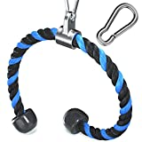 Allbingo Heavy Duty Tricep Rope Compatible with Pulldown Bowflex Cable Machine, Durable Solid Nylon Rope Attachment with Carabiner for Home Gym Pull Down System (Black/Blue, 35.5 Inch)