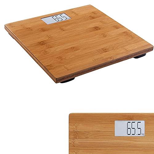 Bilancia digitale con display LCD per persone, peso fino a 180 kg, in legno (spegnimento automatico, intervalli di 100 g)