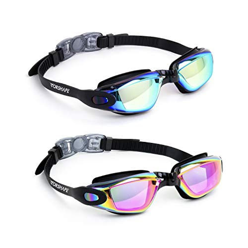 Vorshape Swim Goggles Pack of 2 Swimming Goggle No Leaking Anti Fog UV