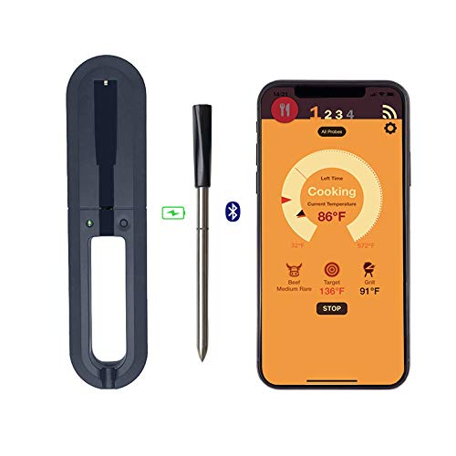 POI Termómetro de Carne inalámbrica Bluetooth con soportación de Alta Temperatura, Carga USB, para Cocina a presión Freidora de Aire BBQ BBQ Horno Sous Vide Cocina asistida