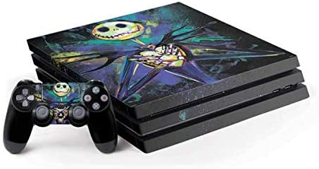 Skinit Decal Gaming Skin Compatible with PS4 Pro Console and Controller Bundle - Officially Licensed Disney Jack Skellington Design