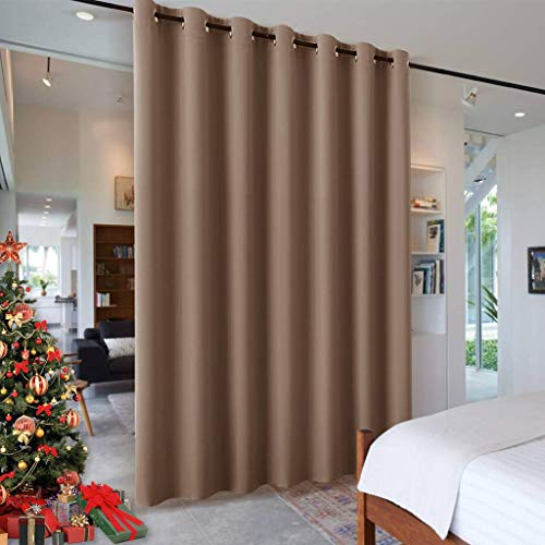 RYB HOME Room Divider Blackout Curtains for Patio Door, Portable Sliding Glass Door Drapes Sunlight & UV Proof Noise Reducing for Bedroom / Living Room / Kitchen / Gazebo, 100 x 84 inch, Cappuccino