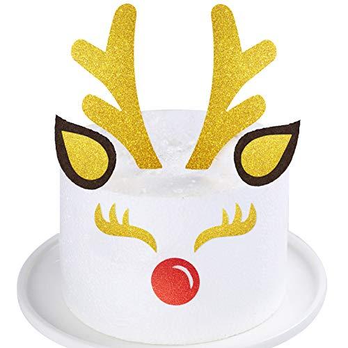 Palksky Christmas Reindeer Antlers Cake Topper - Elk Cake Decoration with Eyelashes/Nose/Deer Antler for Kids Birthday Wedding Baby shower Xmas Party Supplies