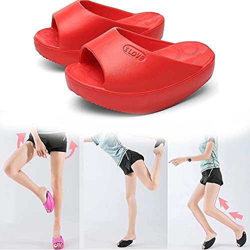 Legs Slippers Half-Palm Stretch Massage Shaking Shoes, Weight Loss Women's Slippers with Half Palm, Slim Legs & Hip Lift Correcting O-Legs and Valgus Thumbs 38-39 Rojo