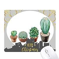 多肉植物サボテンの鉢植えのイラスト クリスマスイブのゴムマウスパッド